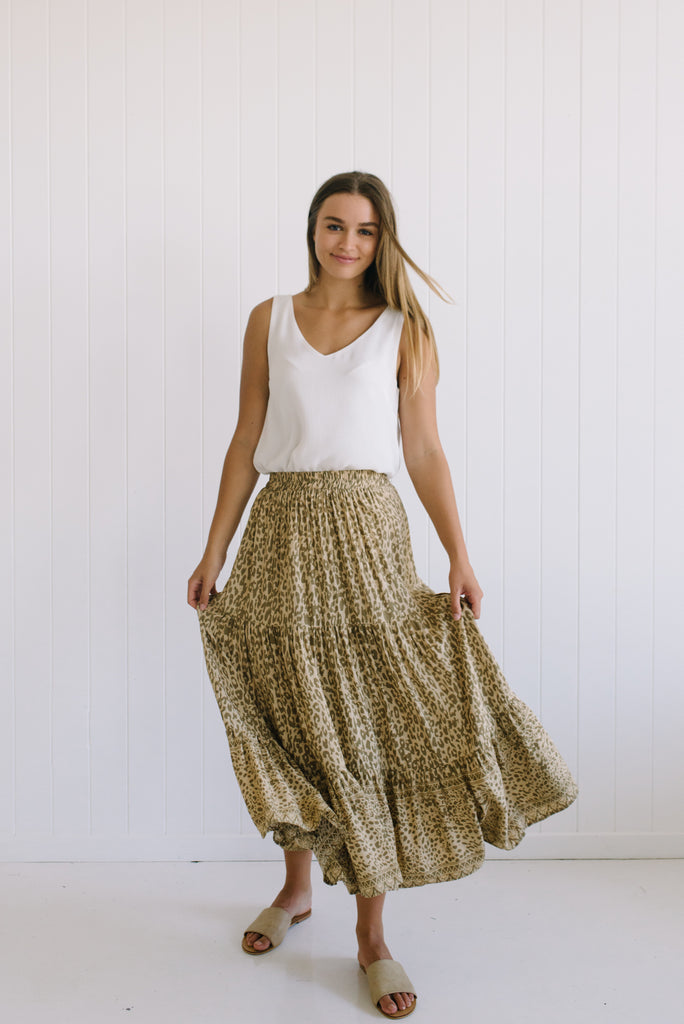 Betty Lane | Women's Leopard Maxi Skirt