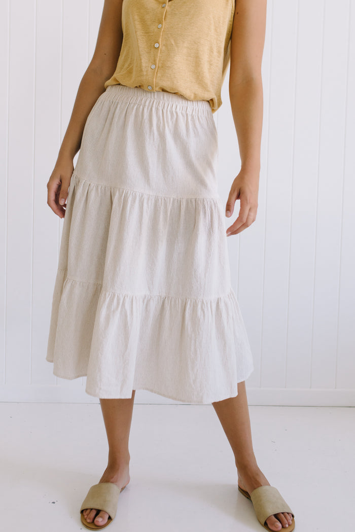 Betty Lane Audrey Linen Skirt | Little Lies Stripe Linen Skirt