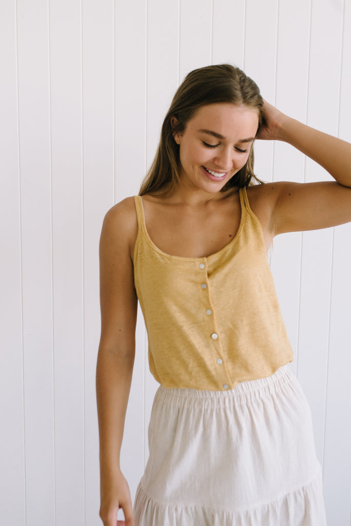 Little Lies Label Shell Linen Cami Mustard