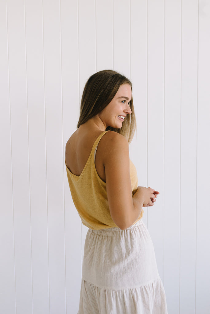 Shell Linen Cami - Mustard - Betty Lane