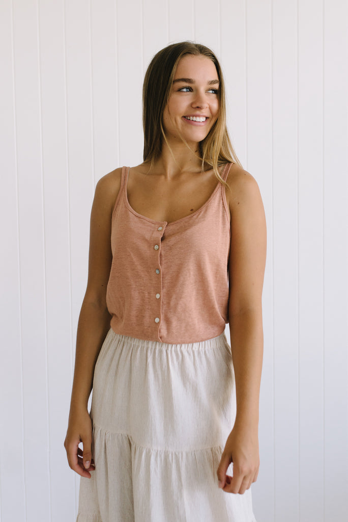 Shell Linen Cami - Rose - Betty Lane