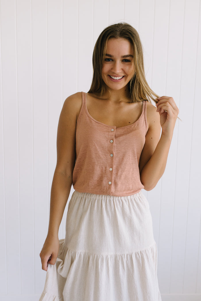 Shell Linen Cami - Rose