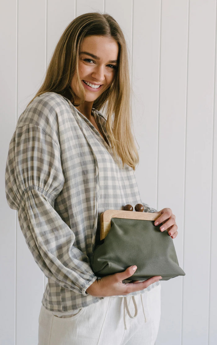 Poppy Timber Clutch - Khaki
