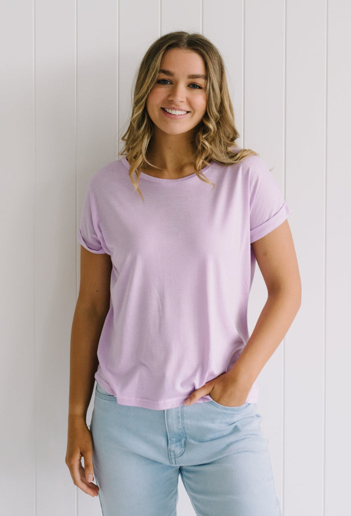 Roll Sleeve Tee - Lilac