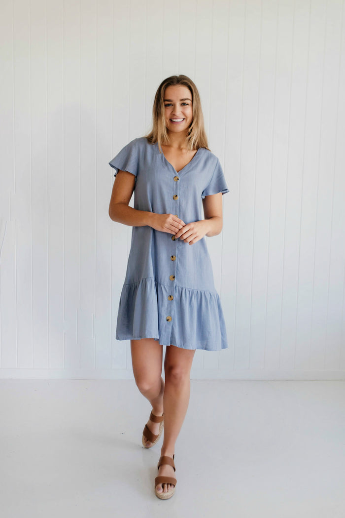 Daisy Drop Dress - Sky Blue