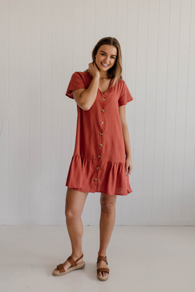 Daisy Drop Dress - Rust