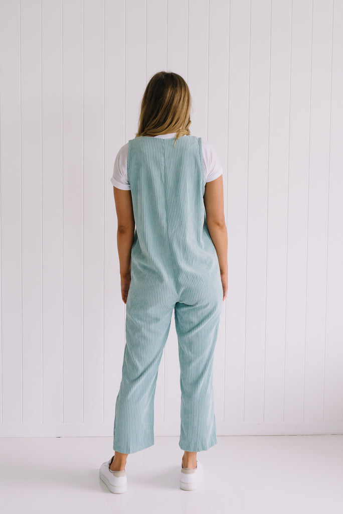 Carly Cord Overalls - Mint