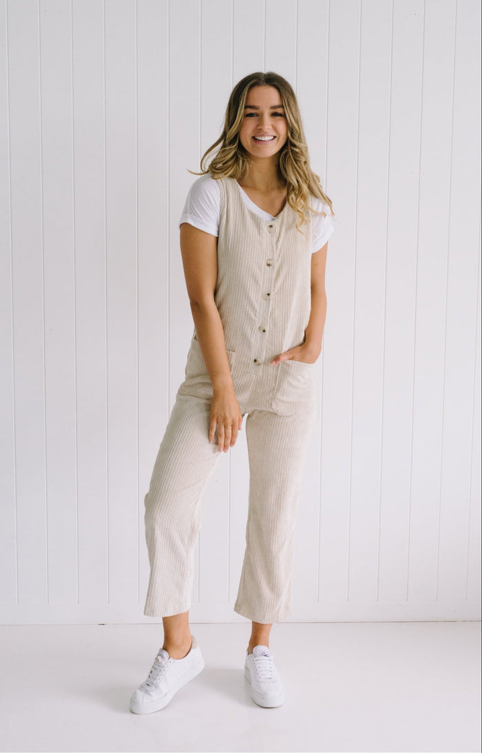 Carly Cord Overalls - Natural