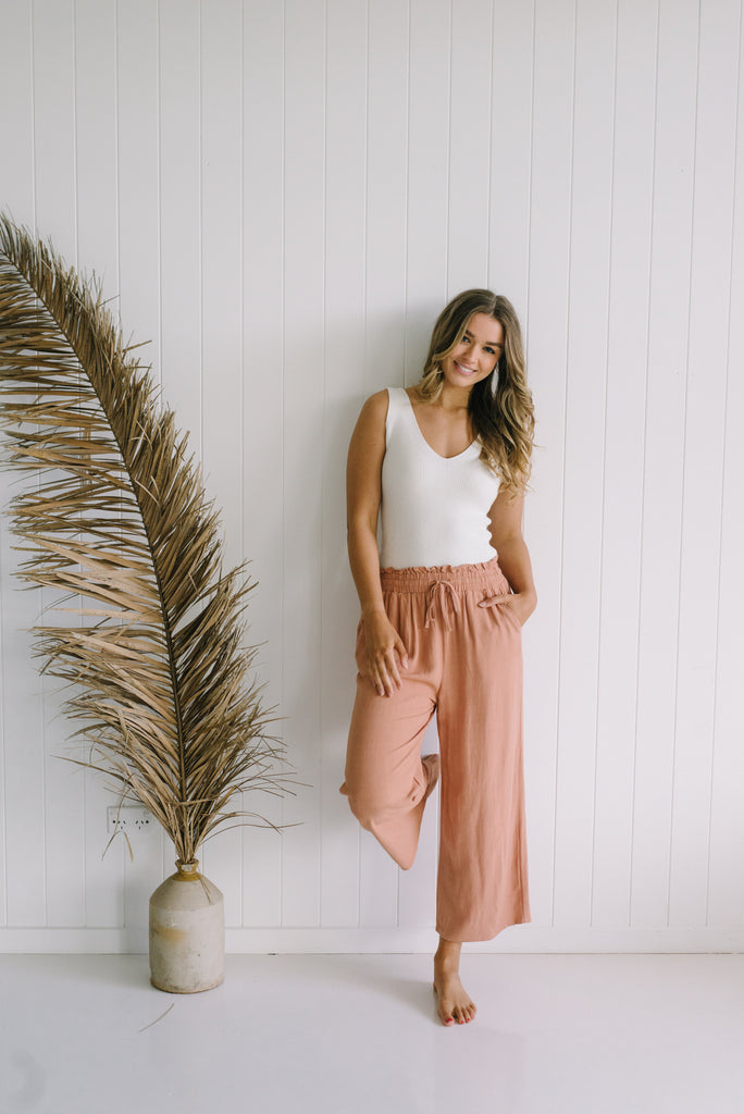 Marlow Linen Pants - Clay