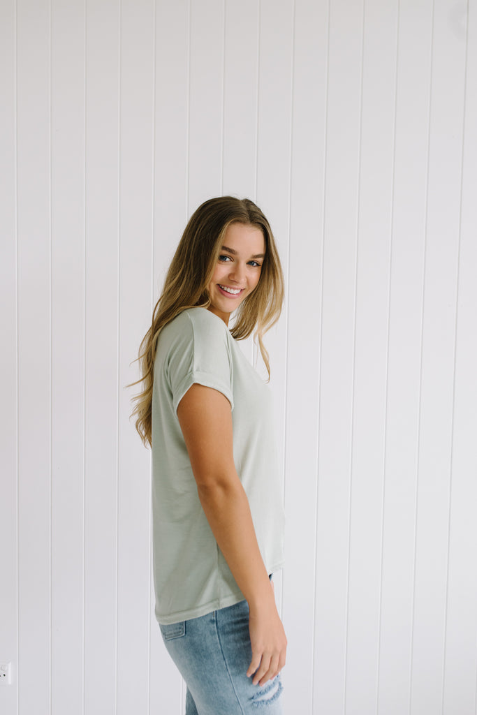 Roll Sleeve Tee - Sage