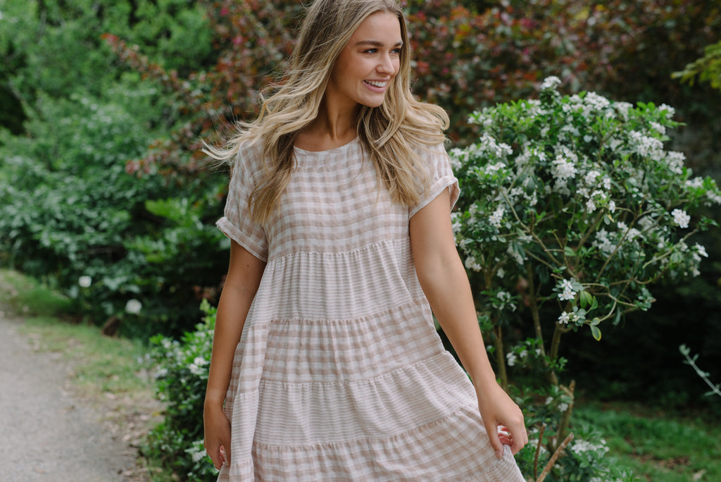 Women's cotton gingham dress