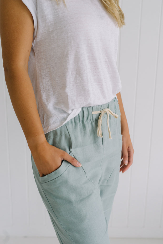 Relaxed Linen Pants - Seafoam - Betty Lane