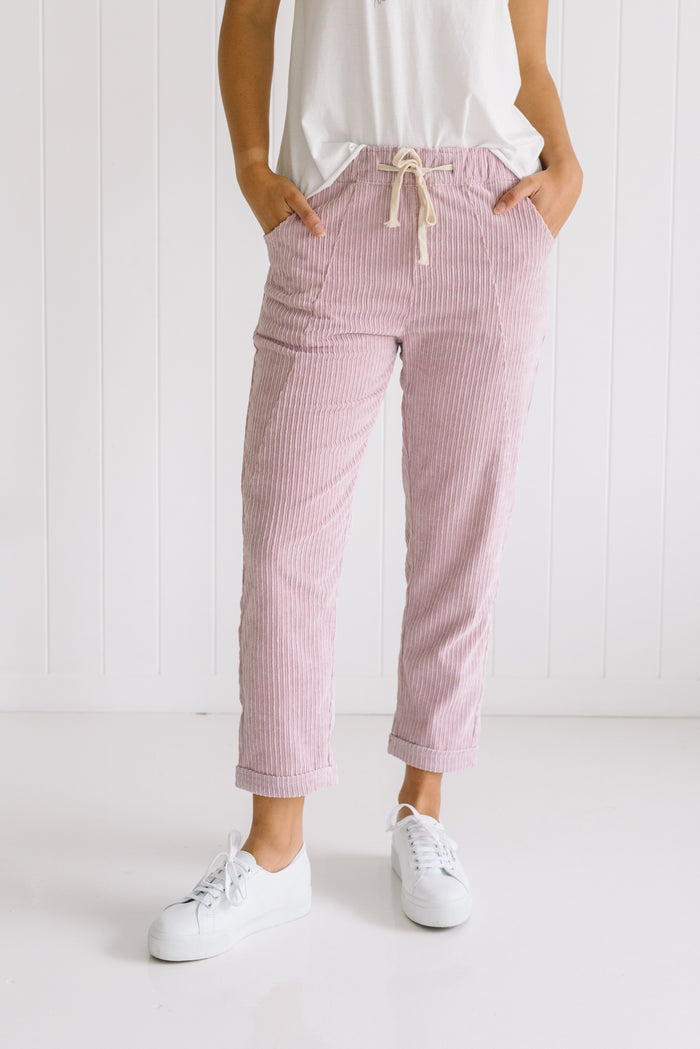 Carly Cord Pants - Pink
