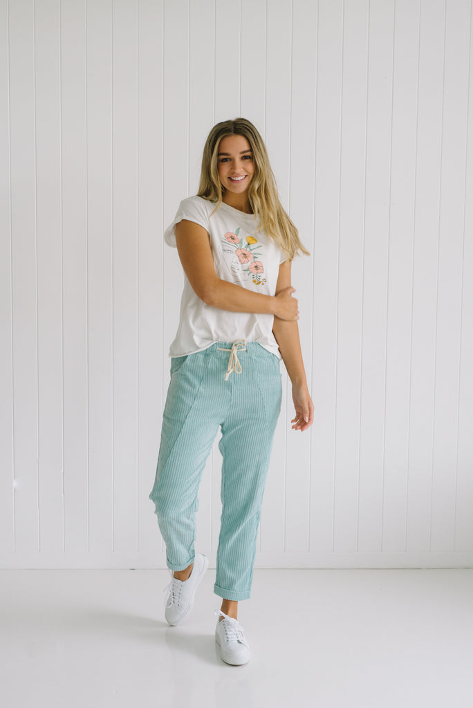 Carly Cord Pants - Mint - Betty Lane