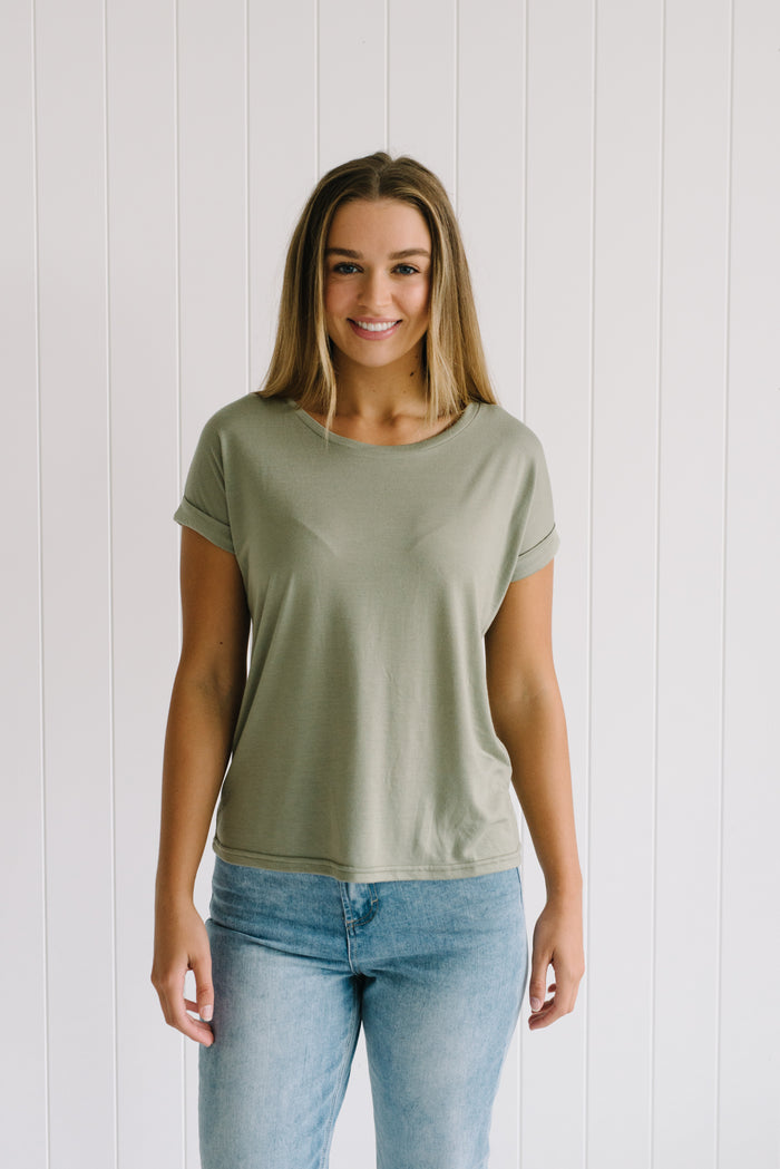 Roll Sleeve Tee - Khaki - Little Lies - Betty Lane