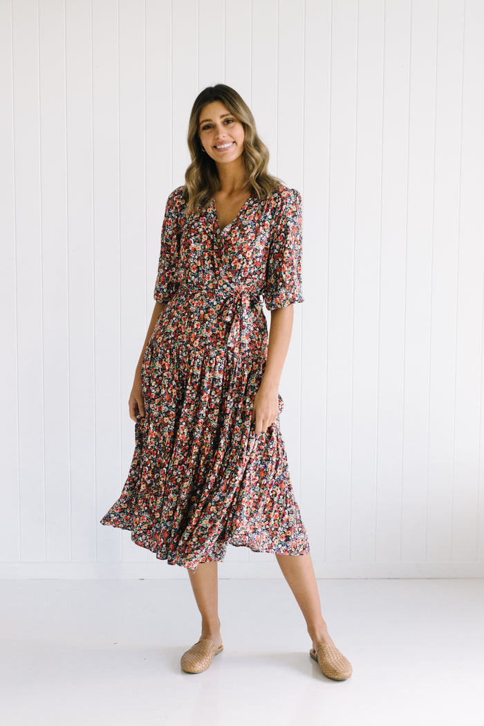 Women's Floral Wrap Around Dress