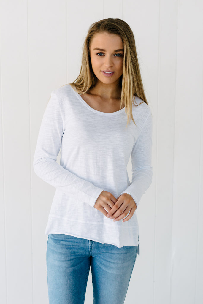 Everyday Long Sleeve Tee - White|  | Betty Lane Womens Clothing Victoria