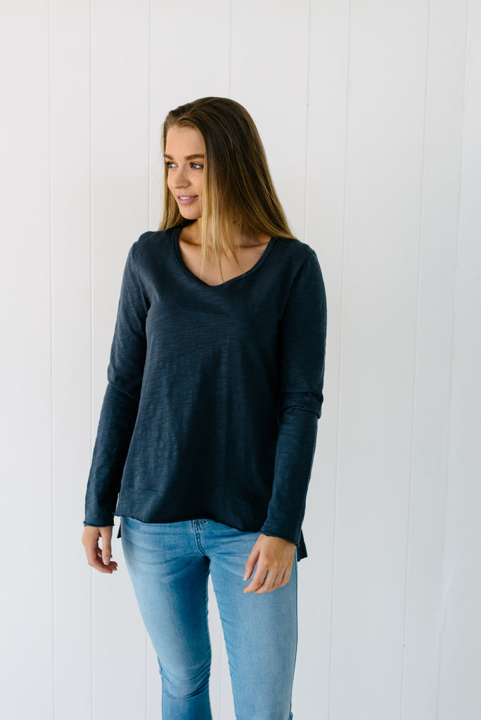 Everyday Long Sleeve Tee - Slate|  | Betty Lane Womens Clothing Victoria