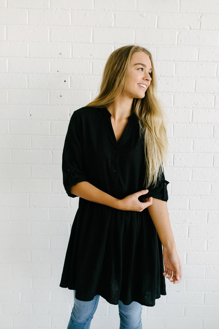 Sadie Shirt Dress - Black