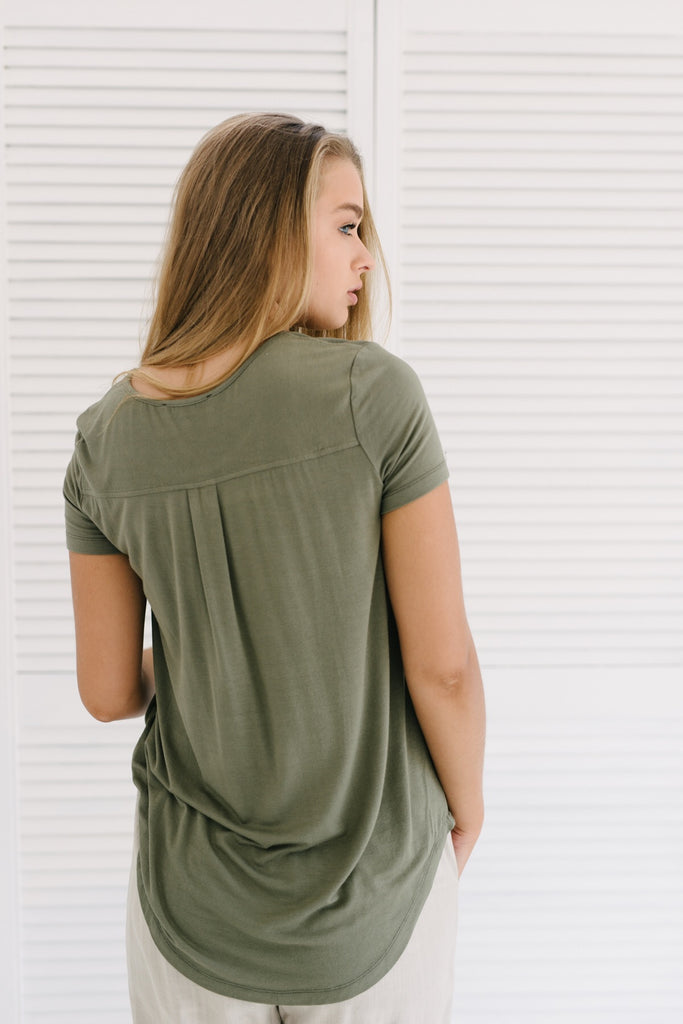 Elly Tee - Khaki| Basics | Betty Lane Womens Clothing Victoria