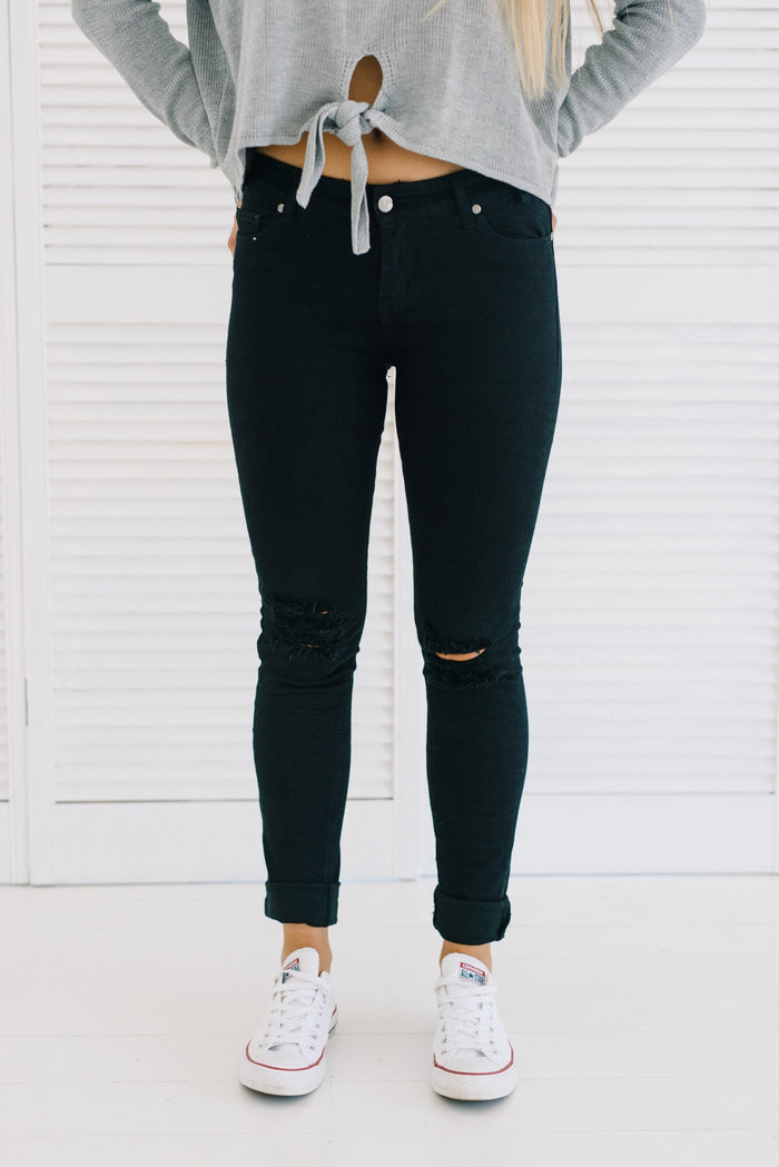 womens black ripped jeans