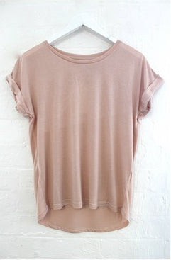 Roll Sleeve Tee | Blush|  | Betty Lane Womens Clothing Victoria