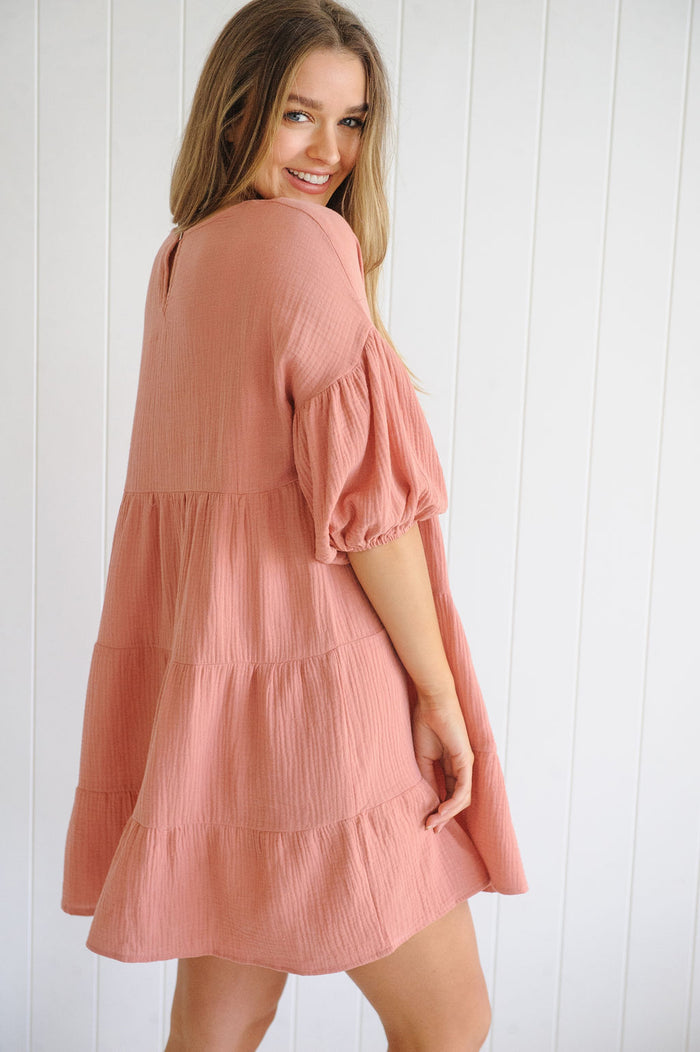 Eden Cotton Dress - Dusty Rose