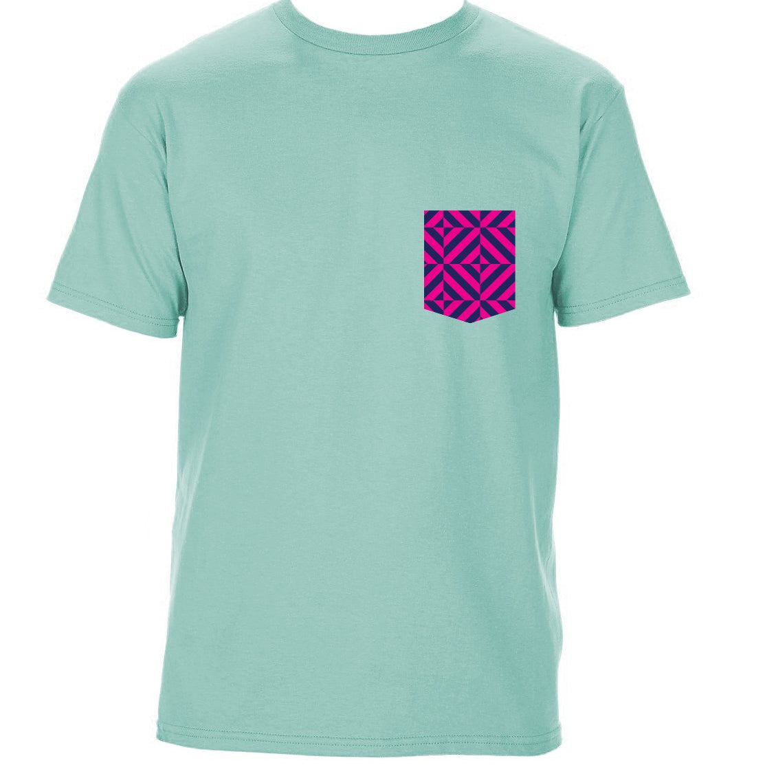TRAV MSK LIMITED EDITION POCKET T-SHIRT (CELADON / PINK PATTERN)