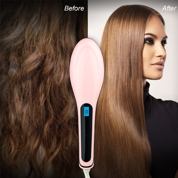 Ceramic Straightener and De-tangling Hair Brush