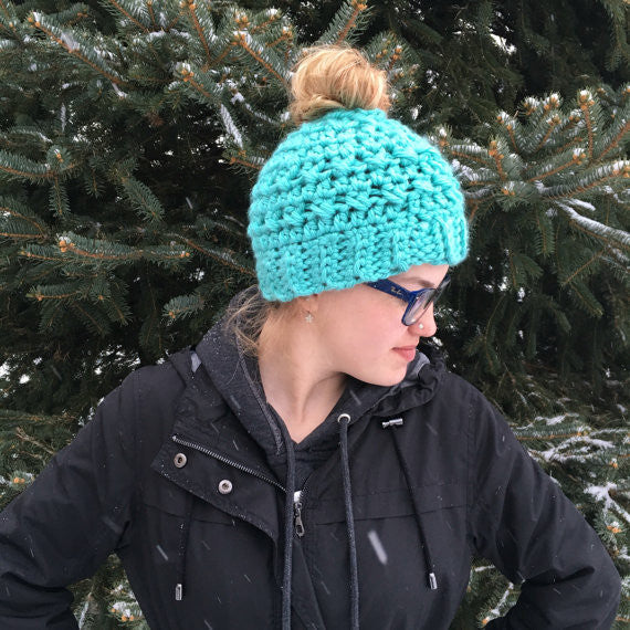 Bun Hat - Messy Bun Hat - Ponytail Hat - Pony Tail Hat - Crochet Bun Hat - Running Hat - Gift for Runner - Crochet Ponytail Hat