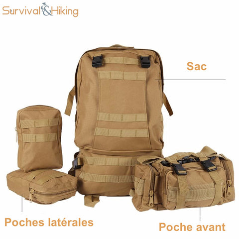sac dos tactique 50l militaire survival hiking store eltysa sprl tva be. Black Bedroom Furniture Sets. Home Design Ideas