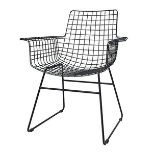 Metal wire chair with arms black
