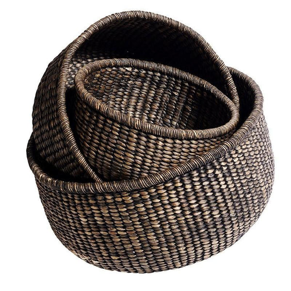 basket braided korv punutud water hyatcinth vesihüatsint dark brown tume pruun natural naturaalne looduslik scandi design practical