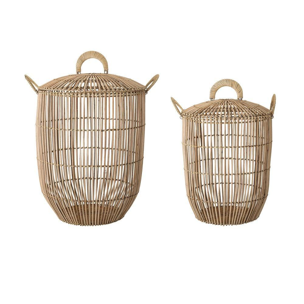 basket with lid nature rattan striped korv kaanega rotang naturaalne õhuline light boho scandinavian