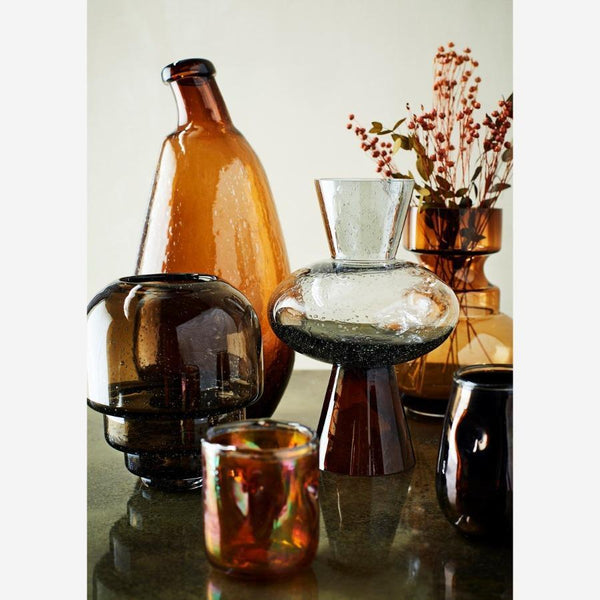 vase dark coffee with bubbles beautifully shaped scandinavian design decorative piece klaasist vaas mullidega kohvi tooni dekoratiivne sisustuselement