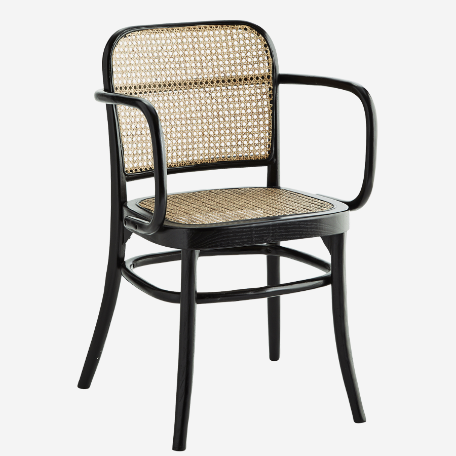 chair with arms rattan black natural webbing comfortable boho scandi tool käetugedega rotangist must naturaalne mugav
