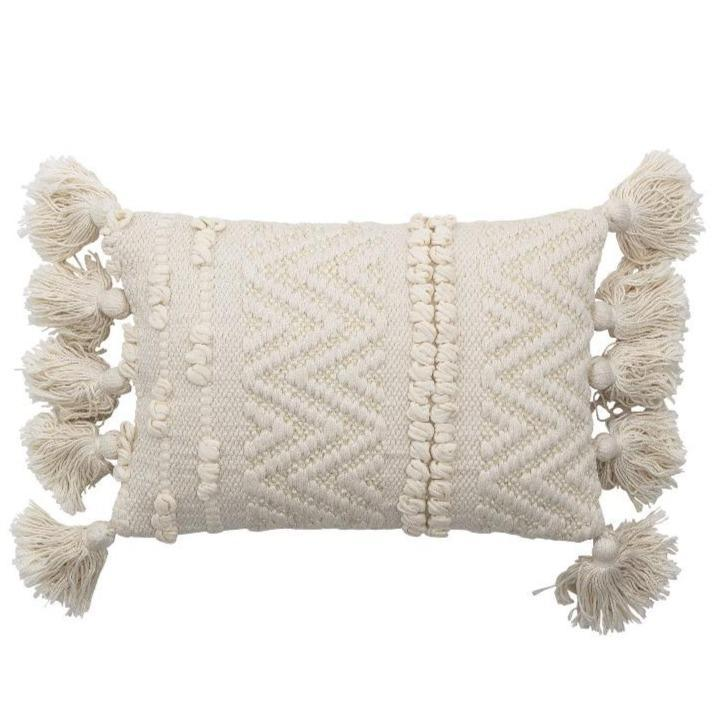 pillow cushion white  woven with tassels bohemian beautiful decoration padi valge tuttidega dekoratiivne kena