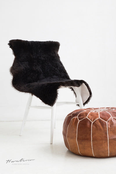 Moroccan Leather Pouf Cognac