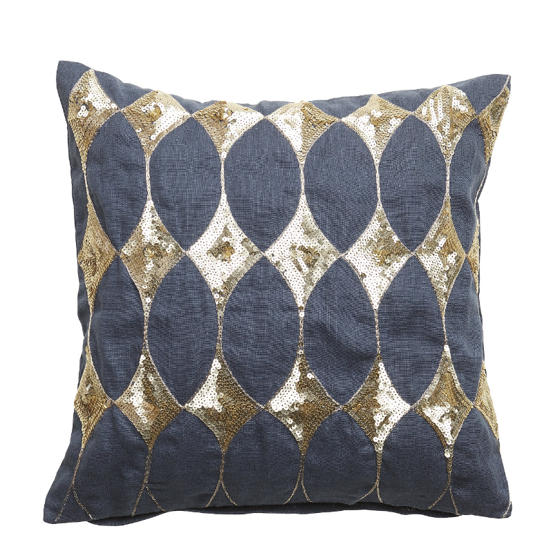 cushion pillow harlekin with sequins night blue golden pattern  linen  inner feather cushion padi sinine kuldne muster litrid dekoratiivne decorative sulesisu