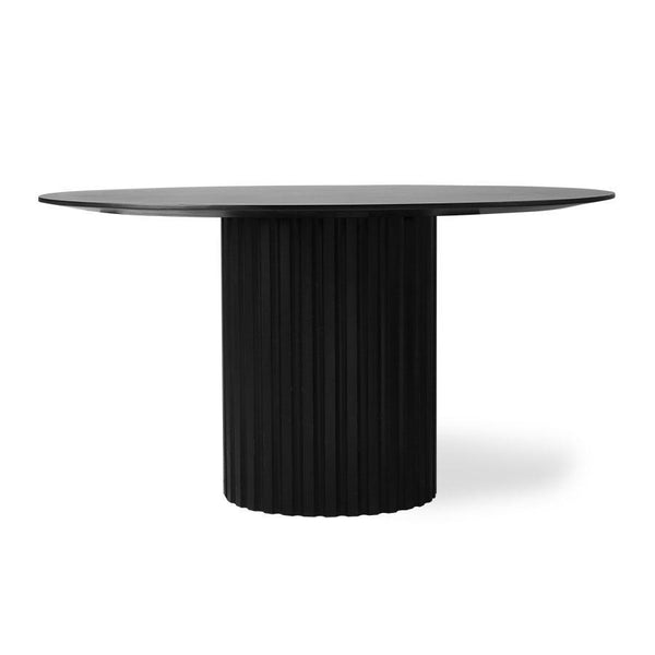 Black round table with pillar leg D140cm