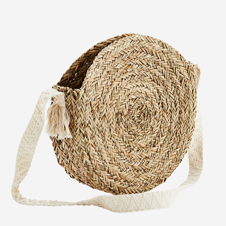 straw bag round õlgedest õlekott cotton strap ümmargune suvine summery beach bag rannakott natural naturaalne