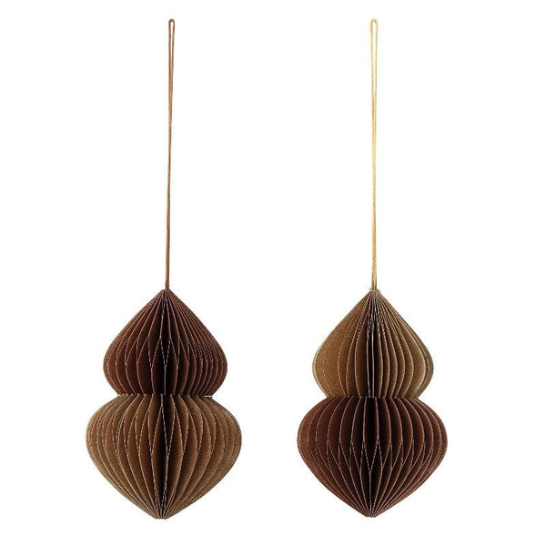 ornament paper decoration for hanging for christmas tree deco brown beautiful shape paberist dekoratsioon ornament jõuluehe pruunikas