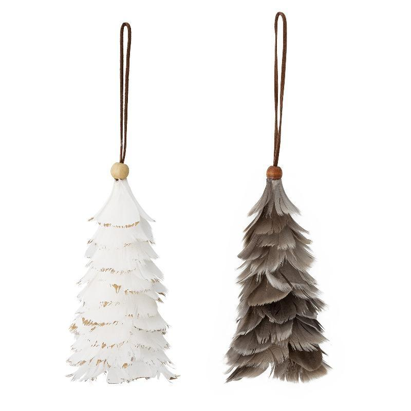 feather ornament decoration for hanginf white brown boho christmas tree deco ornament suled valge pruun kuuseehe dekoratsioon riputamiseks