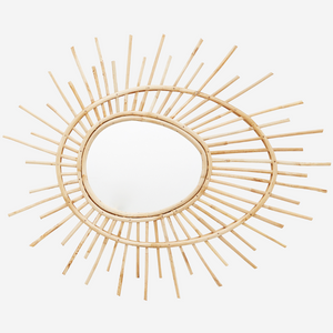 mirror oval with bamboo frame sun shape boho stylish accessory decorative peegem ovaalne bambusest raam päikese kujuga naturaalne ilus dekoratiivne sisustusdetail