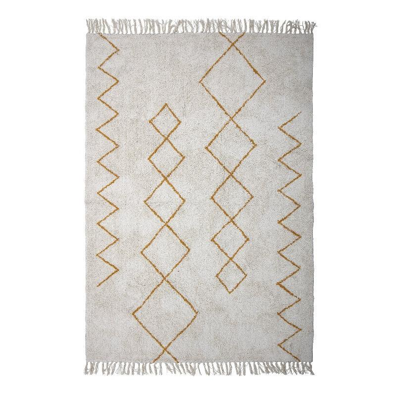 rug zig-zag cotton yellow white decorative for bedroom childrens room soft beautiful vaip puuvillane valge kollane sik-sak