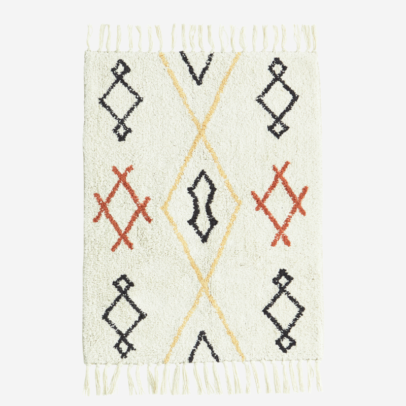 bath mat rug cotton nat white geometrical pattern simple design soft fun vannitoavaip narmastega naturaalvalge geomeetrilise mustriga lihtne pehme lõbus disain puuvillane