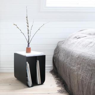 Curved metal side table