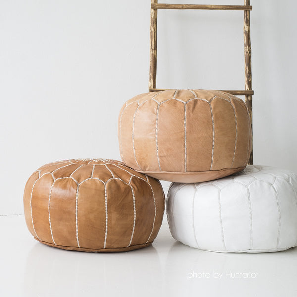 Moroccan Leather Pouf Natural