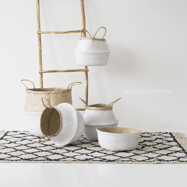 Natural/White Seagrass Basket S