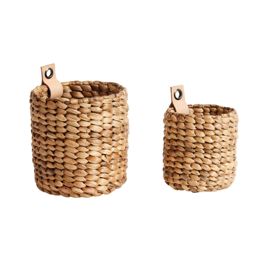 natural mini baskets water hyatcinth with leather strap for hanging mini korvid vesihüatsint nahkriba riputamiseks indonesia